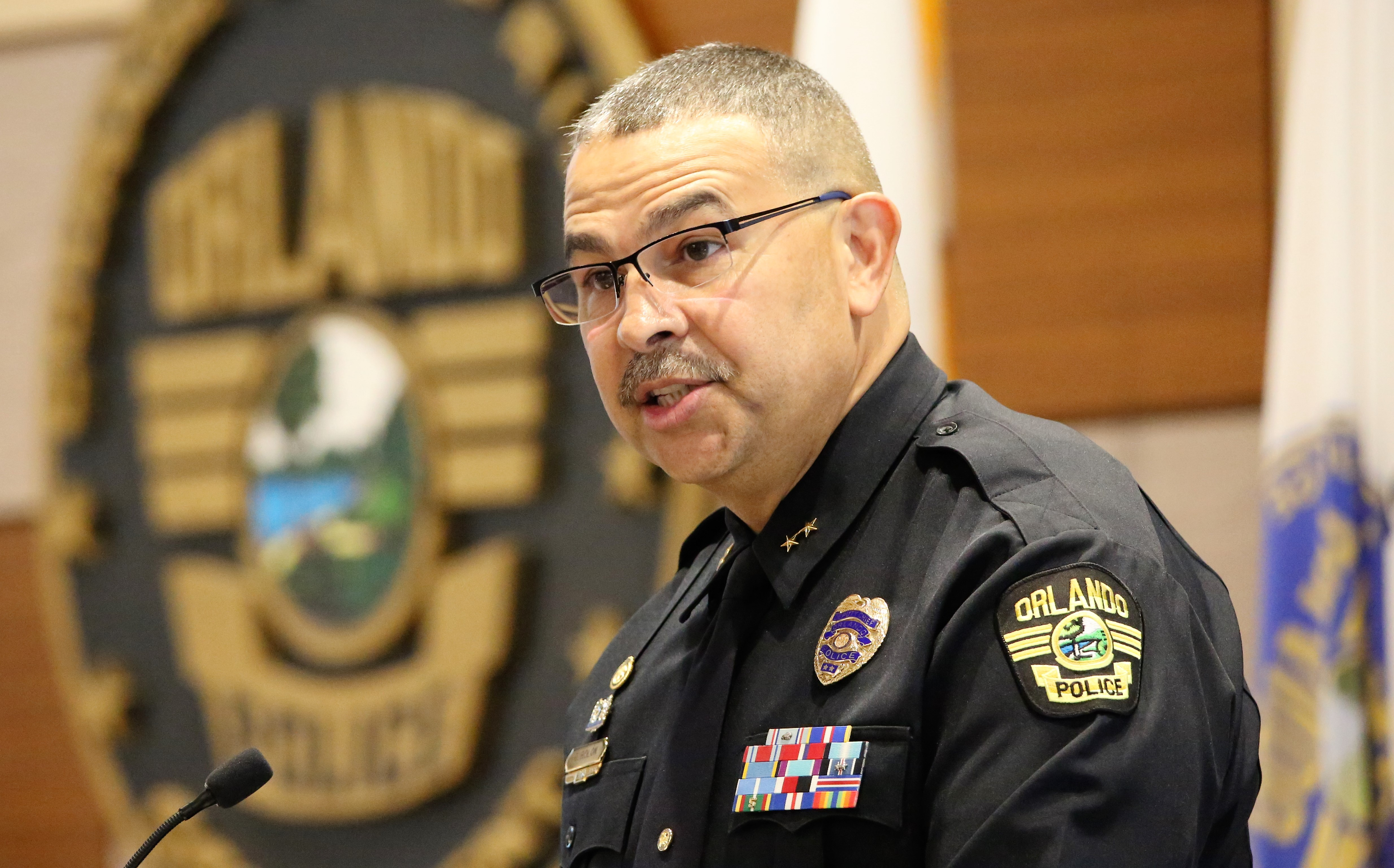 Orlando Mayor Buddy Dyer appoints Deputy Police Chief Orlando Rolon as the 39th Police Chief at the Orlando Police Headquarters Thursday, October 11, 2018. (Photo by Willie David / Florida National News)