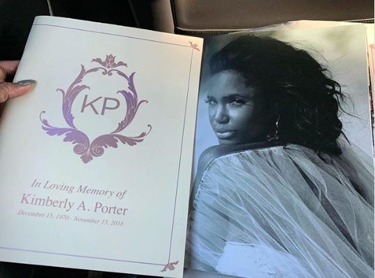 Tichina Arnold captured and shared an image of Kim Porter's funeral program on Instagram Saturday. Photo: Tichina Arnold/Instagram.