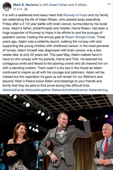 Mark Nejame makes a touching tribute to Adam Rosen, son of Harris Rosen, who passed away on Black Friday, November 23, 2018. Source: Mark Nejame/Facebook