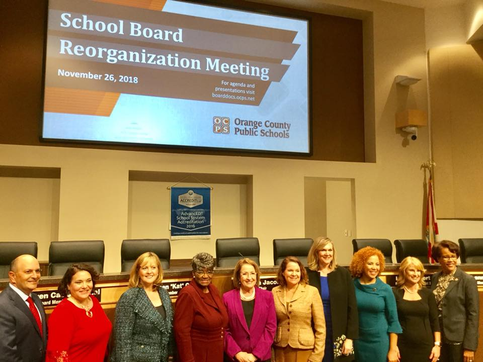 "The OCPS Board was excited to receive the newly elected and re-elected board members Monday. The full Board (L-r): Diego ""Woody"" Rodriguez, Board General Counsel; Melissa Byrd, District 7; Karen Castor Dentel, District 6; Kathleen ""Kat"" Gordon, District 5; Teresa Jacobs, Chair; Pam Gould, District 4; Linda Kobert, District 3; Johanna Lopez, District 2; Angie Gallo, District 1; and Dr. Barbara Jenkins, Superintendent. (Photo by Willie David/Florida National News)."
