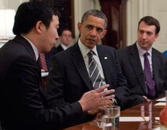 In 2012, Andrew Yang was invited as one of twelve White House Champions of Change Alumni who got the chance to meet with President Obama in celebration of the program's one year anniversary. Photo: Venture for America.