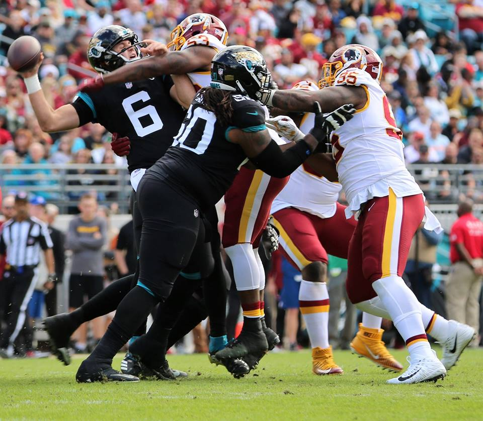Jaguars quarterback Cody Kessler (#6) was sacked six times during the Jaguars' matchup against the Redskins at TIAA Bank Field Sunday, December 16, 2018. Photo: Willie David/Florida National News.
