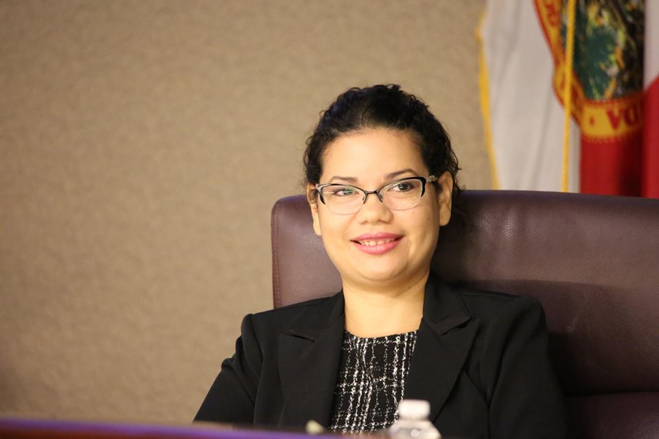 Orange County Commissioner Emily Bonilla in the Orange County Board chambers in November 2018. Photo: Wille David/Florida National News.