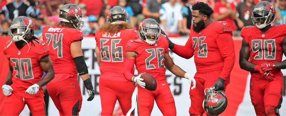 Tampa Bay Buccaneers safety Andrew Adams (#26) nabbed three of the Buccaneers' four interceptions against the Carolina Panthers Sunday. Photo: Willie David/Florida National News.