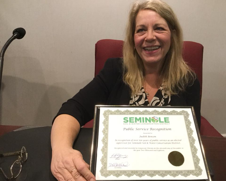 Seminole Soil & Water Conservation District Supervisor received recognition for her service during the SSWCD Board meeting in December 2018. Photo courtesy of Orange Soil & Water Conservation District Board Chair and Supervisor Daisy Morales.