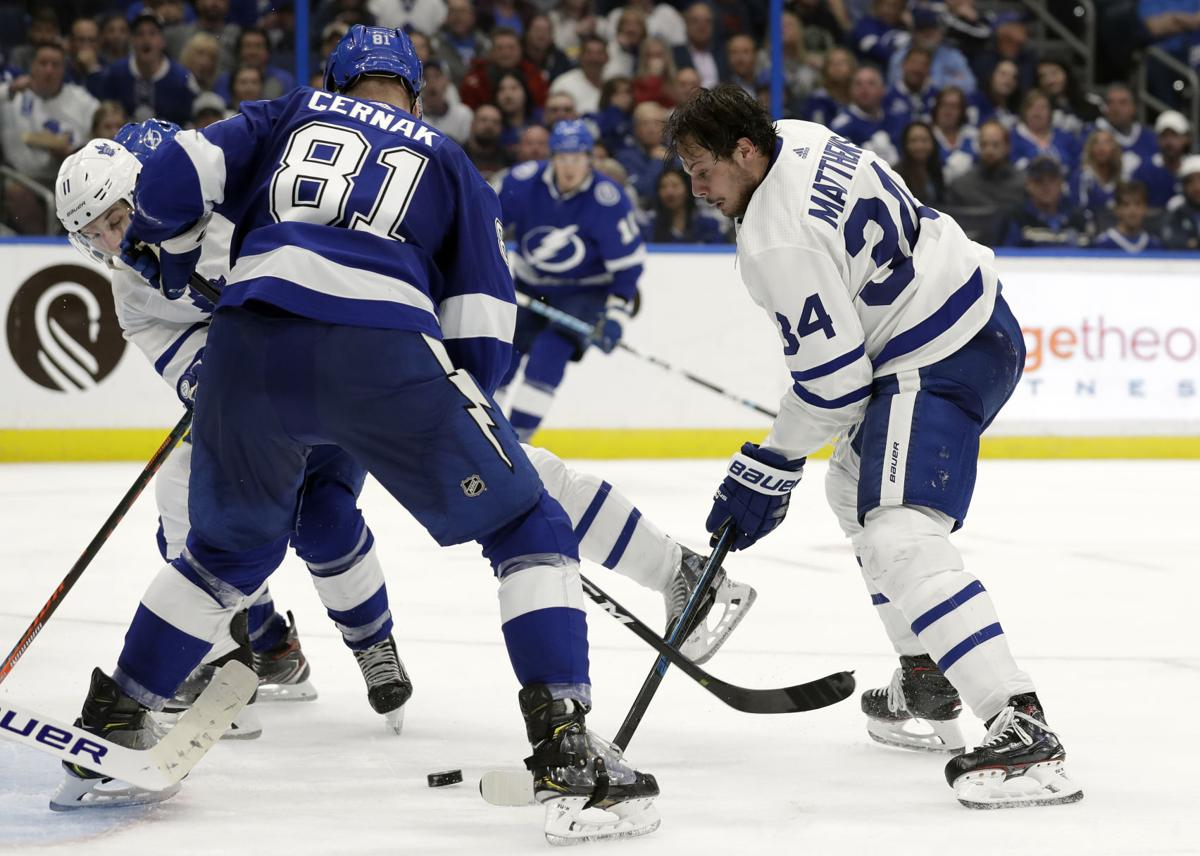 The Maple Leafs were aggressive against the NHL leaders in Tampa Bay's Lightning. Photo: Chris O'Meary/AP.