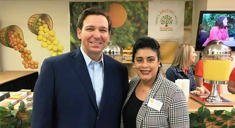 Florida Governor Ron DeSantis and Orange Soil & Water Conservation District Board Chair and Supervisor Daisy Morales in Tampa for the 2019 Florida State Fair, Thursday, February 7. 2019. (Florida National News Photo)