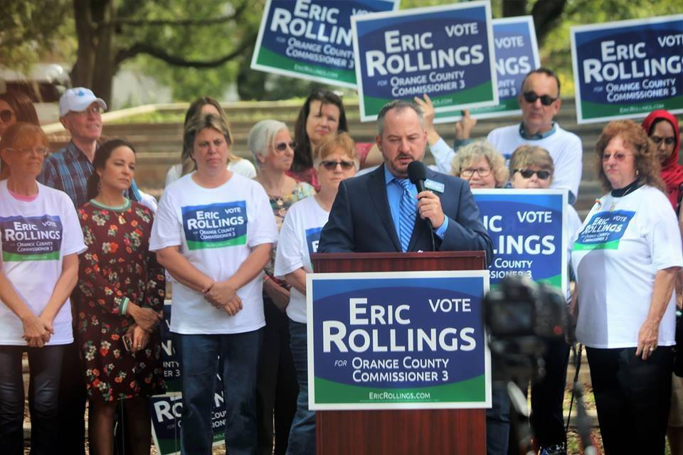Eric Rollings submitted his letter to resign as Orange Soil & Water Conservation District Supervisor and Board Chair in June 2018 to run for Orange County Commissioner, District 3 in the 2018 mid-term election. He lost the election to Mayra Uribe and his resignation took effect December 4, 2018, at which point Vice Chair Daisy Morales became Chair. Photo: Willie David/Florida National News.