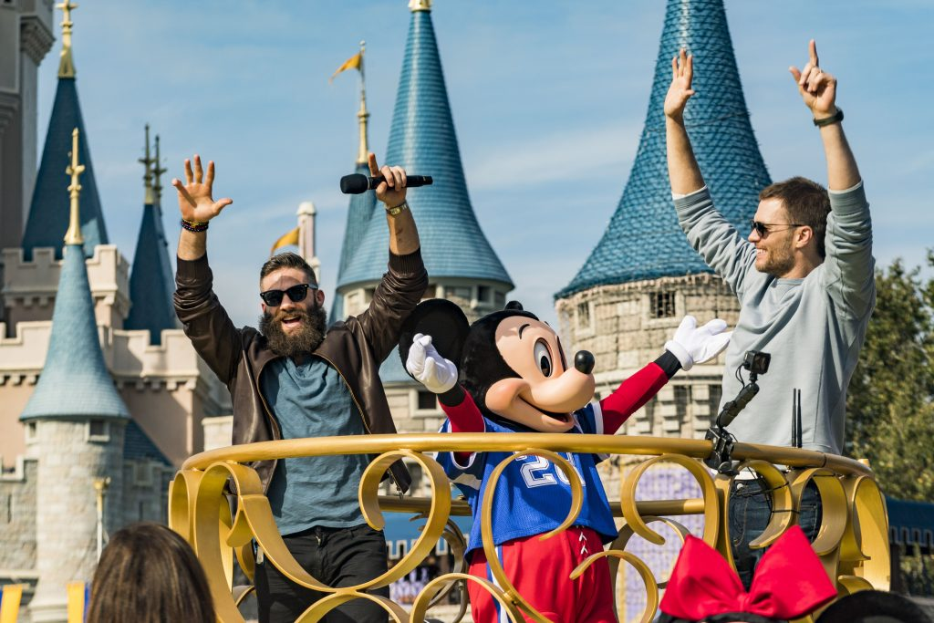 New England Patriots wide receiver Julian Edelman (left) and quarterback Tom Brady (right) celebrated their Super Bowl LIII victory Monday, Feb. 4, 2019, at Walt Disney World Resort. The pair participated in a parade with Mickey Mouse, waving to cheering fans as they traveled down Main Street, U.S.A. at Magic Kingdom Park. Photo: Kent Phillips for Walt Disney World Resorts.