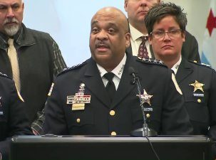 Chicago police speak on the Jussie Smollett case. Photo: KTLA News.