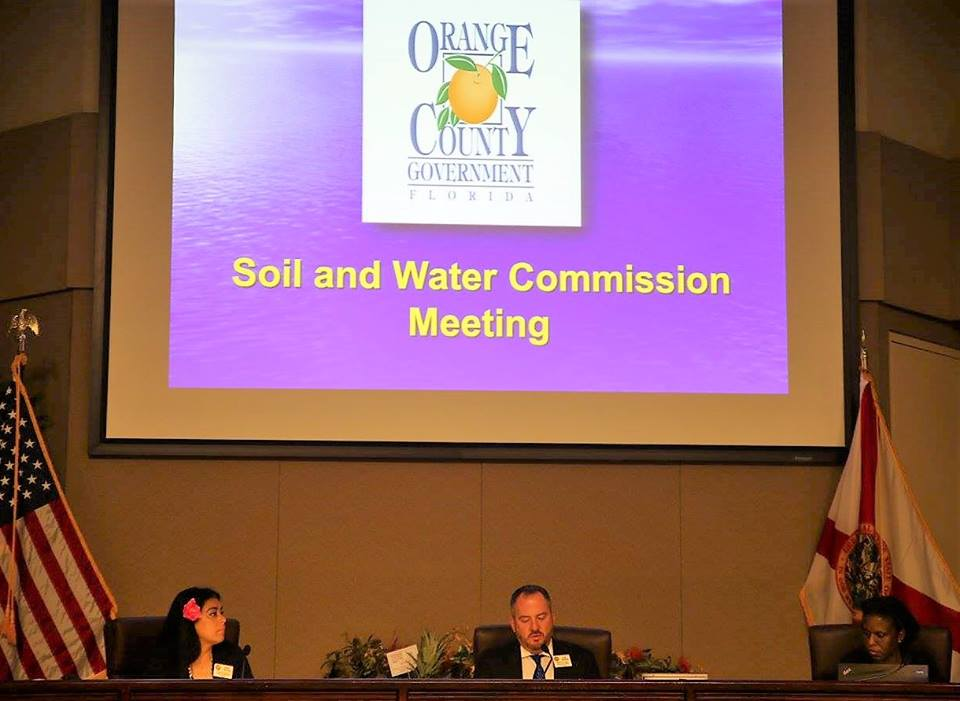 (l-r) Orange Soil & Water Conservation District Board Vice Chair and Supervisor Daisy Morales, Board Chair and Supervisor Eric Rollings, and Supervisor Dziekan attend a board meeting April 12, 2017. Photo: Willie David/florida National News.
