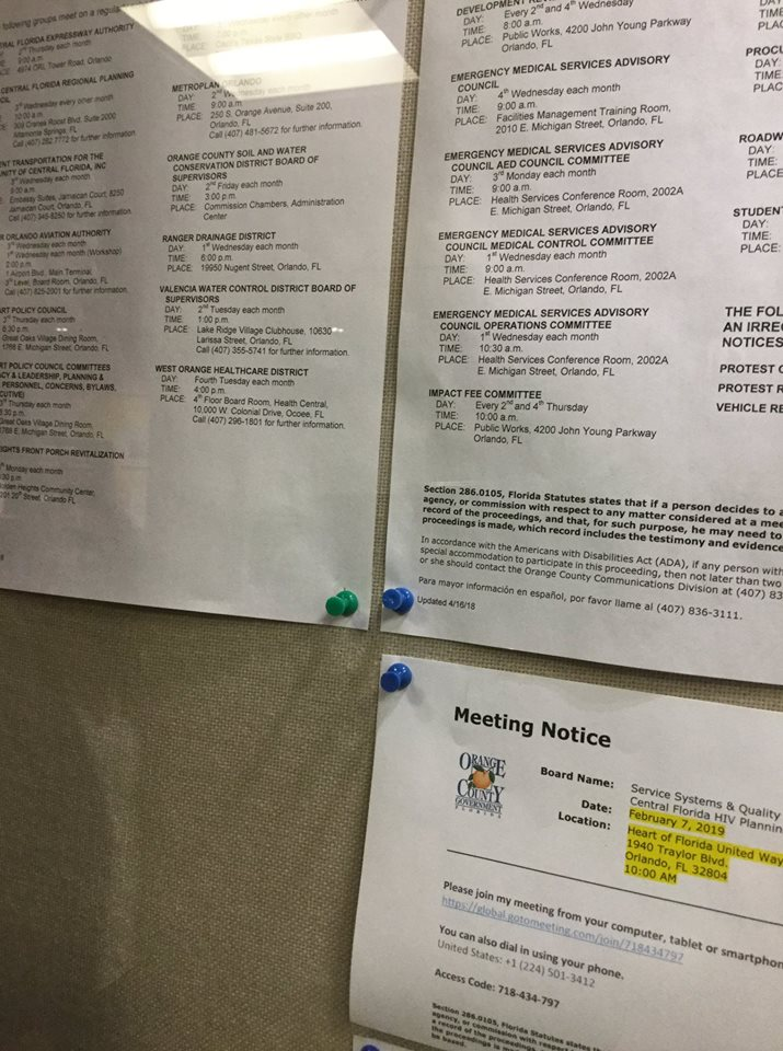 The Orange Soil & Water Conservation District meeting schedule (pinned on the left sheet, right column, fourth from the bottom) is posted on the Orange County Administration message board. Photo: Florida National News.