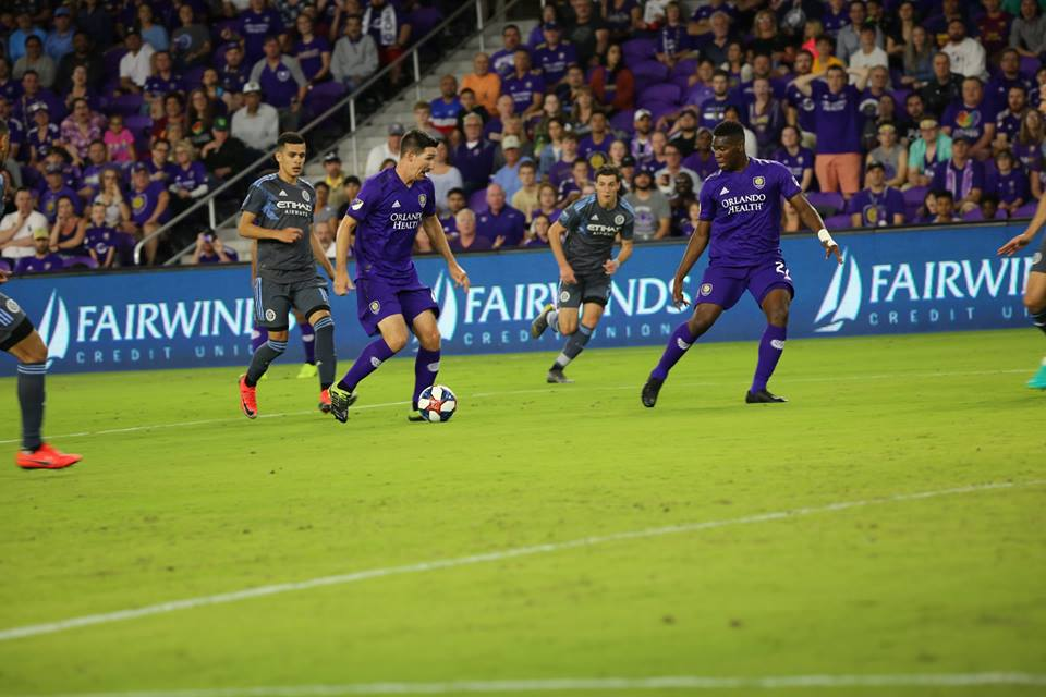 Orlando City's Sacha Kljestan (#16) manuevers the ball for a pass against NYCFC during the Orlando City Invitational Saturday, February 16, 2018. Photo: Willie David/Florida National News.
