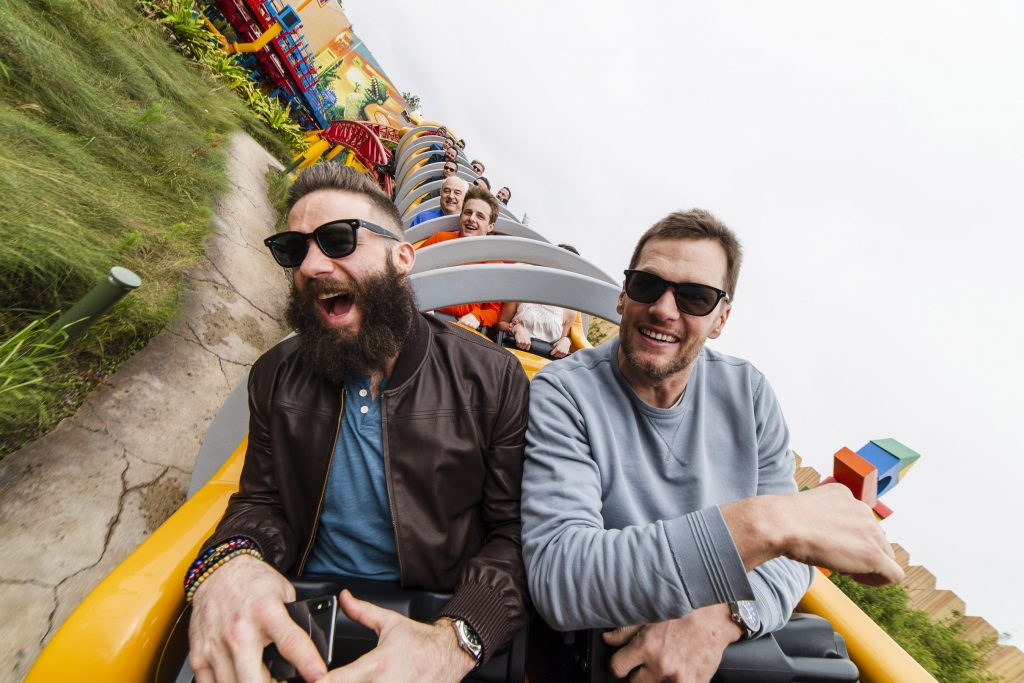New England Patriots wide receiver Julian Edelman (left) and quarterback Tom Brady (right) celebrated their Super Bowl LIII victory Monday, Feb. 4, 2019, at Walt Disney World Resort in Lake Buena Vista, Fla. During their visit, the pair took a ride on the new Slinky Dog Dash in Toy Story Land at Disney's Hollywood Studios. Photo: Steven Diaz.