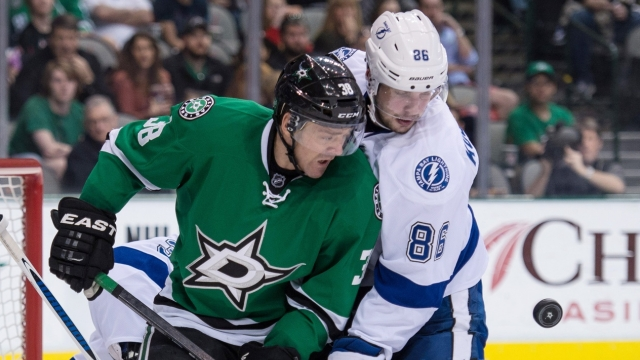 The Tampa Bay Lightning proved too much for the Dallas Stars at Amalie Arena Thursday. Photo: Jerome Miron/USA TODAY Sports.