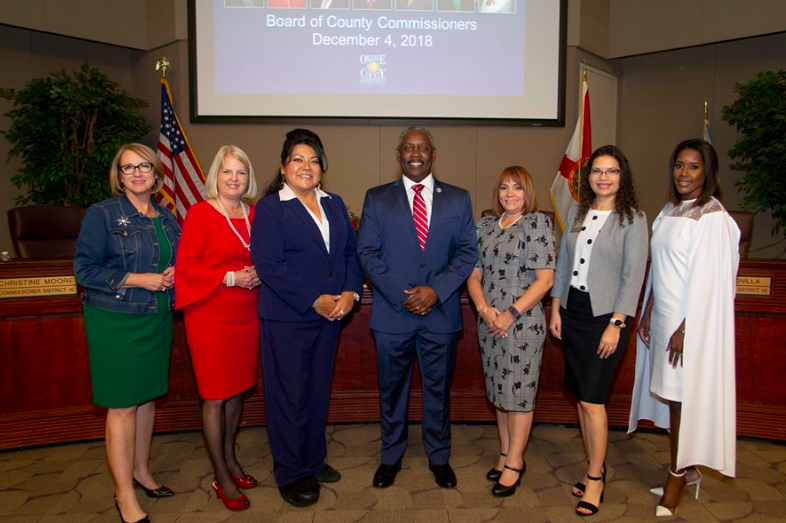 (l-r) Orange County Commissioners Betsy VanderLey (District 1), Christine Moore (District 2) and Mayra Uribe (District 3), Orange County Mayor Jerry Demings, and Orange County Commissioners Maribel Gomez Cordero (District 4), Emily Bonilla (District 5) and Victoria Siplin (District 6). Photo: Willie David/Florida National News.