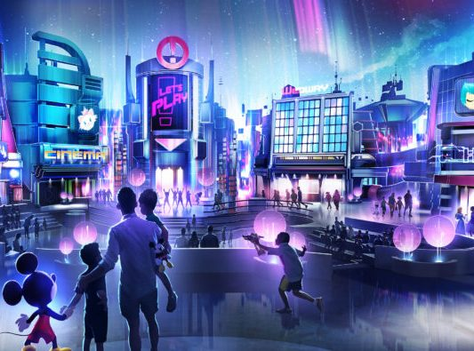 In this artist rendering, a new play pavilion in development at Epcot will include first-of-their-kind experiences devoted to playful fun, inviting guests into an innovative city bursting with interactive experiences and hands-on activities. Friends and family will interact with favorite Disney characters in an energetic metropolis unlike anything ever seen before at Epcot. The as-yet-unnamed space will debut to guests in time for the Walt Disney World 50th anniversary. (Disney)