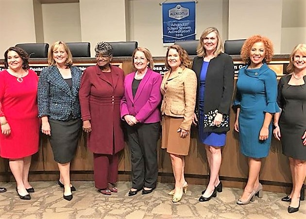 (l-r): Orange County School Board Members Melissa Byrd, Karen Castor Dentel, Board Member and Vice Chair Kat Gordon, Board Chair Teresa Jacobs, and Board Members Pam Gould, Linda Kobert, Johanna Lopez and Angie Gallo. Photo: Willie David/Florida National News.