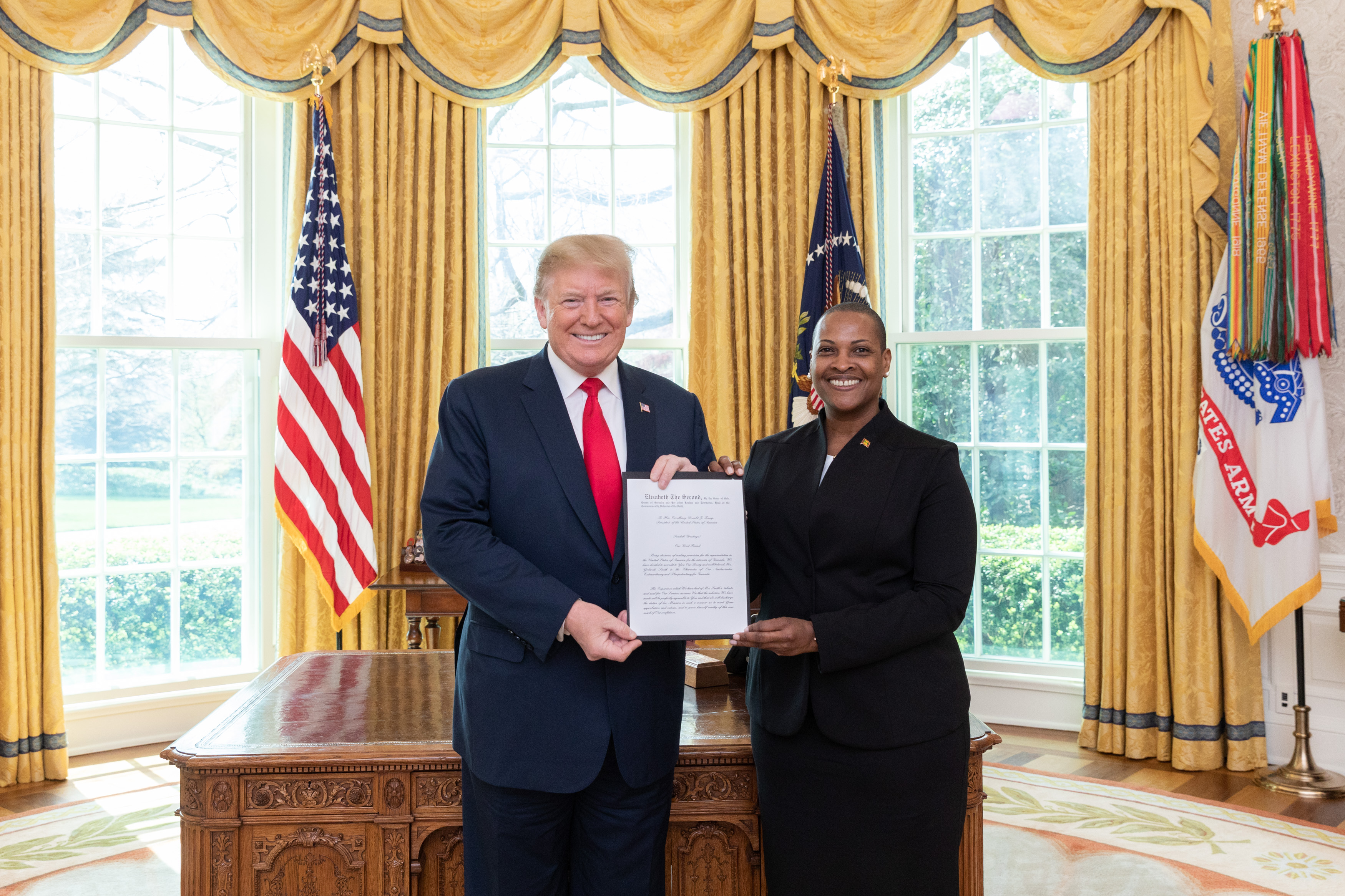Grenada's Ambassador to the United States, Ms. Yolande Smith this week presented her credentials to U.S. President Donald Trump at the White House last week. Photo courtesy of the Embassy of Grenada.