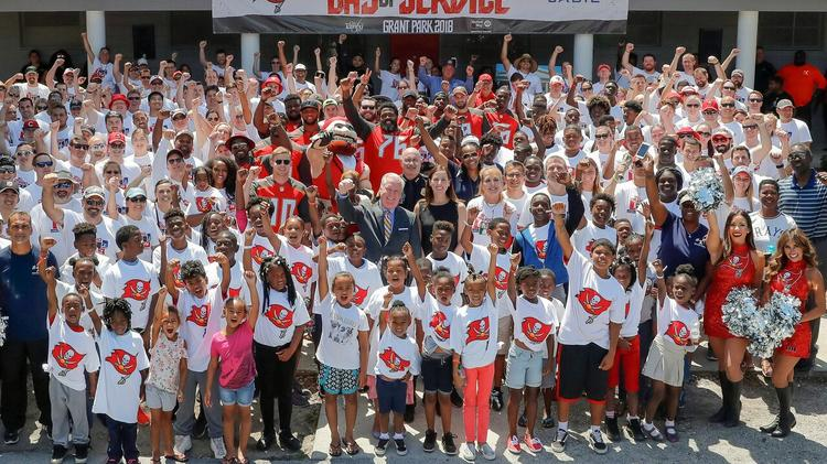 Tampa Bay Buccaneers players and staff, Darcie Glazer Kassewitz, along with tech leader Jabil, United Way Suncoast and Mayor Bob Buckhorn completed the renovation of Grant Park Community Center during the Bucs' Day of Service in 2018. Photo: Tampa Bay Business Journal.