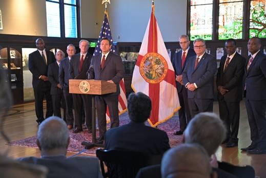 Governor Ron DeSantis speaks at Florida State University Monday morning. Photo: Governor's Press Office.