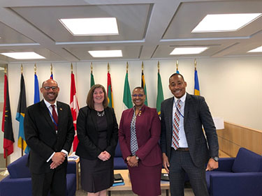 Grenada's Minister for Climate Resilience, the Environment, Fisheries, Forestry, Disaster Management and Information, Hon. Simon Stiell (left), joined Ms. Smith in Washington D.C. during the World Bank Group and IMF Spring Meetings to discuss climate change and its impact on Grenada from April 8-12, 2019. Photo courtesy of Grenada's RealFM 91.5/91.9.