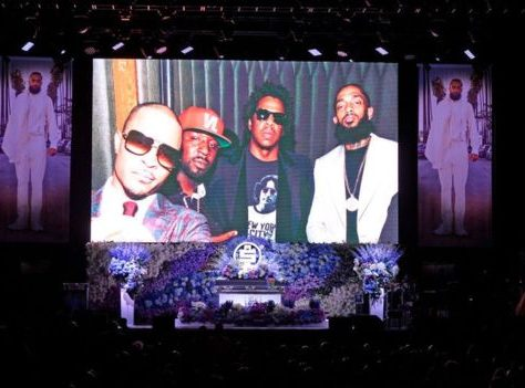 Pictures of Nipsey Hussle's life were displayed during his memorial service. Photo: Getty Images.