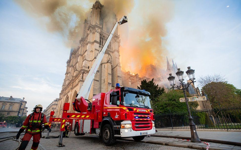 The fire was declared completely extinguished on Tuesday morning. Photo: Pompiers de Paris/PA