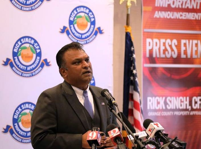 Orange County Property Appraiser Rick Singh held a press conference Monday on returning $1 billion to the tax roll. (Photo by Willie David / Florida National News)