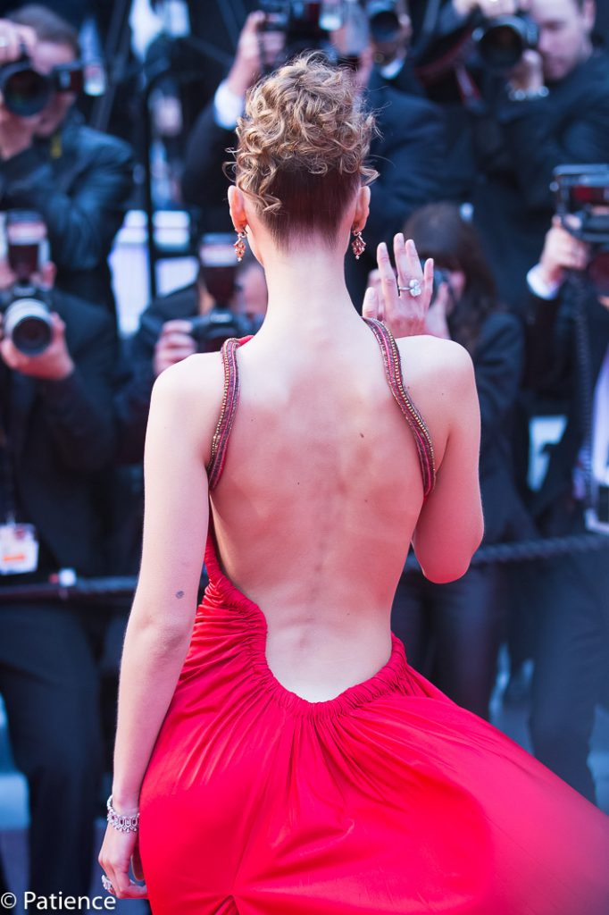 Bella Hadid's Roberto Cavalli gown boasted an open back. Photo: Patience Eding/Another Concept Magazine/Florida National News.