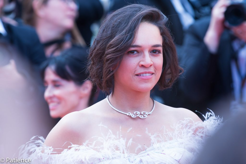 """Actress Michelle Rodriguez stunned in a feathery Rami Kadi gown on the """"Once Upon a Time ... in Hollywood"""" premiere red carpet at the 2019 Cannes Film Festival Tuesday, May 21. Photo: Patience Eding/Another Concept Magazine/Florida National News."""