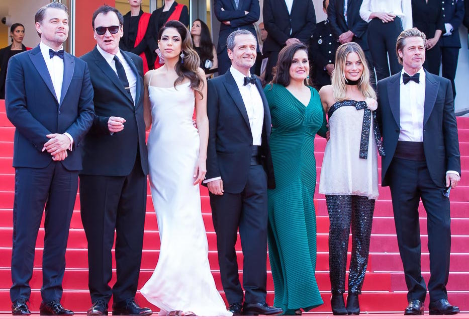 "The ""Once Upon a Time ... in Hollywood"" cast face the 2019 Cannes Film Festival red carpet crowd: Leonardo DiCaprio, director Quentin Tarantino, Margot Robbie (2nd right) and Brad Pitt (right). Photo: Patience Eding/Another Concept Magazine/Florida National News."