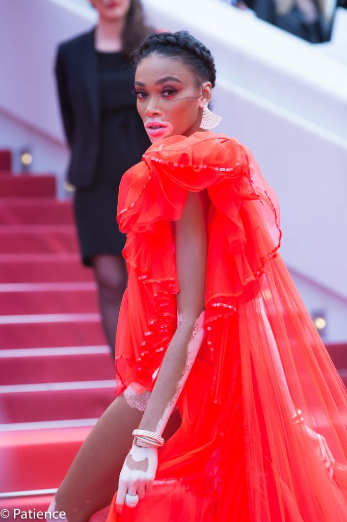 "Supermodel Winnie Harlow on the 2019 Cannes Film Festival red carpet for the ""Once Upon a Time ... in Hollywood"" premiere on Tuesday, May 21. Photo: Patience Eding/Another Concept Magazine/Florida National News."