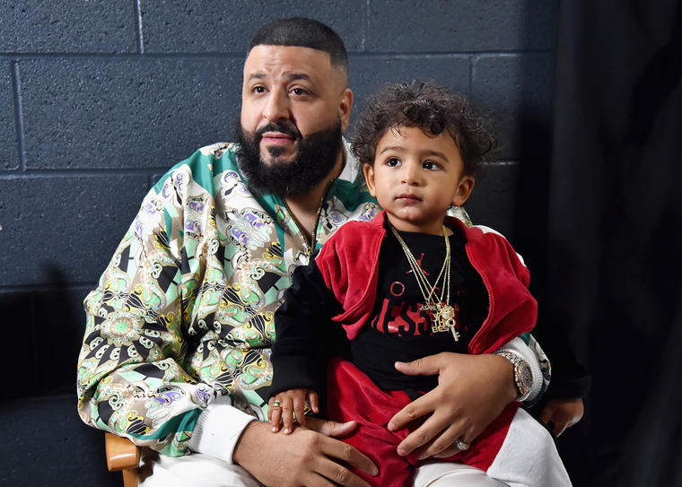 DJ. Khaled and his son. Photo: Getty Images.