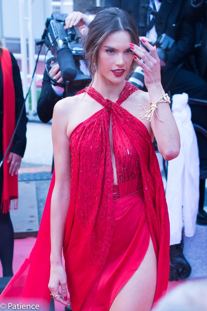 """Alessandra Ambrosio put the """"red"""" in red carpet with this near-naked Julien Macdonald piece for the """"Les Miserables"""" premiere at the 2019 Cannes Film Festival Wednesday. Photo: Patience Eding/Another Concept Magazine/Florida National News."""