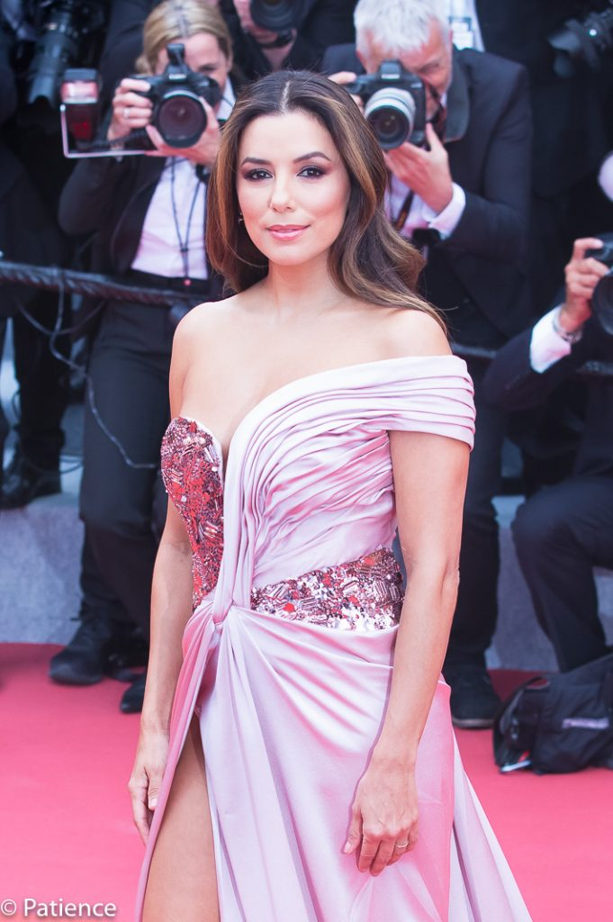 Actress Eva Longoria graced a steamy off-the-shoulder Alberta Ferretti gown with a high slit. Photo: Patience Eding/Another Concept Magazine.