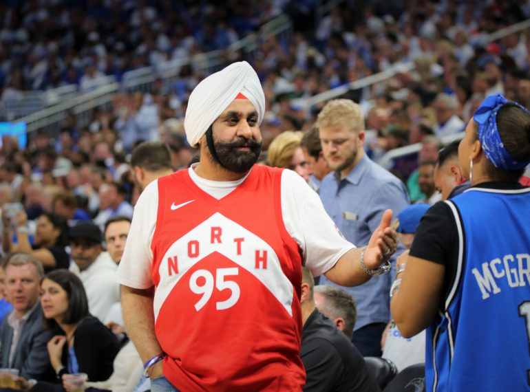 Toronto Raptors Superfan Nav Bhati has words with a hard-core Orlando Magic fan during Round 1, Game 3 of the NBA Playoffs in which the Magic hosted the Raptors at Amway Center Friday, April 19, 2019. Photo by Willie David / Florida National News