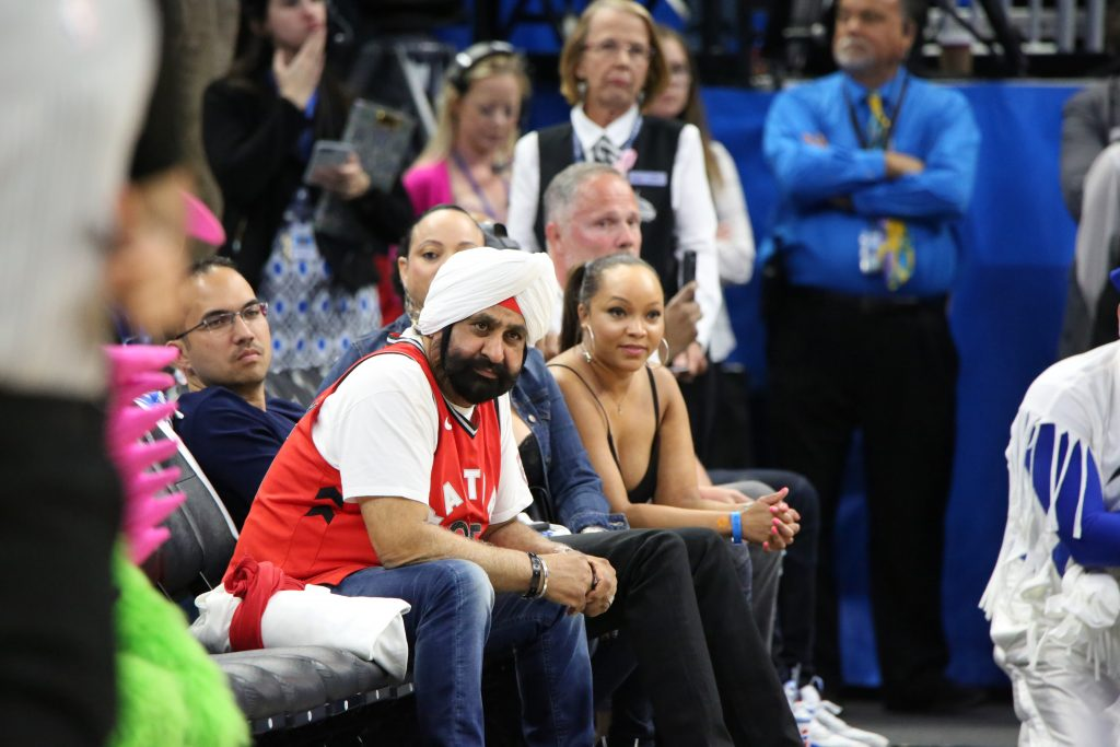 Raptors Superfan Nav Bhatia stood out at Amway Center when the Toronto Raptors faced the Orlando Magic in Round 1, Game 3 of the Playoffs Friday, April 19, 2019. Photo by Willie David / Florida National News
