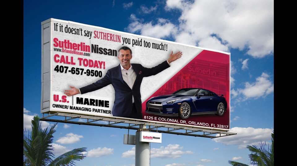 U.S. Marine marketing his Nissan dealership in East Orlando. Photo courtesy of U.S. Marine.