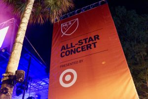 MLS All-Star Concert banner flanks the Wall Street Plaza concert stage. Photo: Leyton Blackwell/Florida National News.