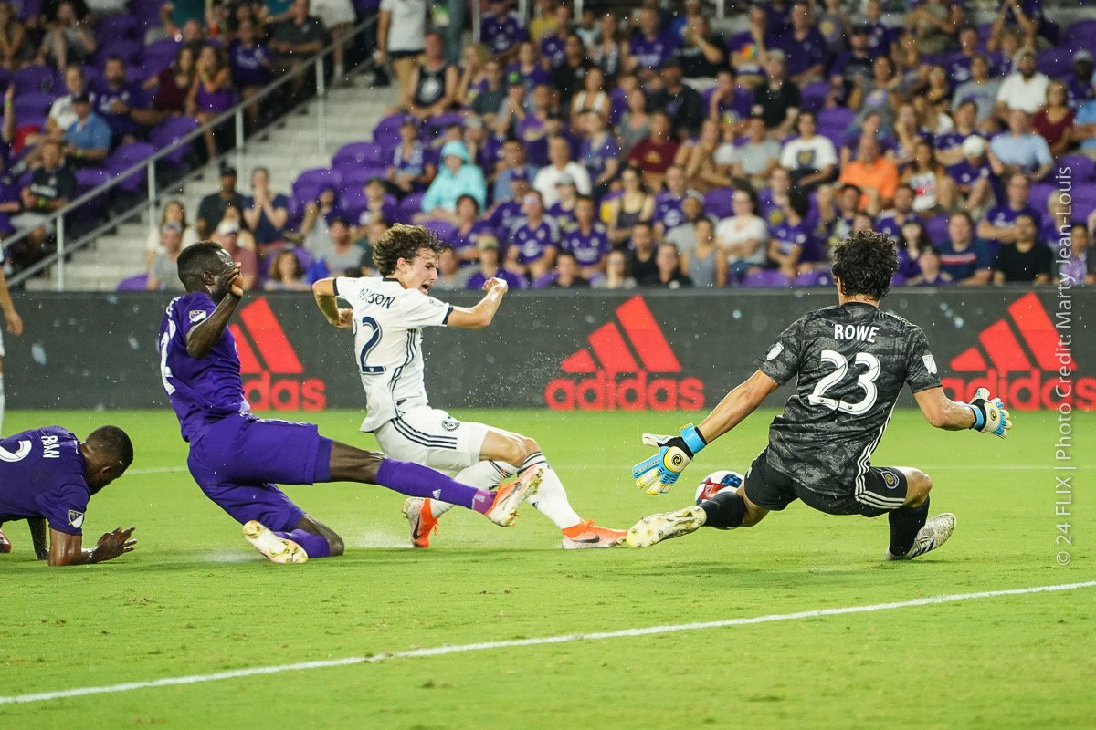 Orlando City SC goalie Brian Rowe (#23) fiercely protects the goal from another Philadelphia Union attack in the second half at Exploria Stadium Wednesday, July 3, 2019. Photo: Marty Jean-Louis/24 Flix.