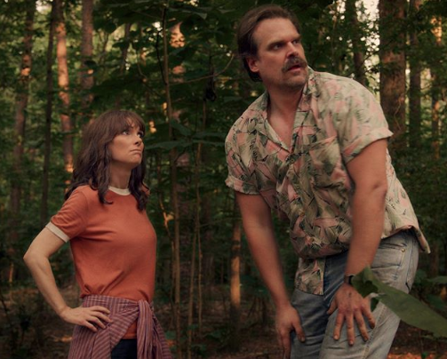 Joyce Byers (Winona Ryder) tries to coach Chief Jim Hopper (David Harbour) to be a modern adoptive father to a super-powered child (now teen) in 'Stranger Things' season 3. Image: Stranger Things/Netflix (Instagram).
