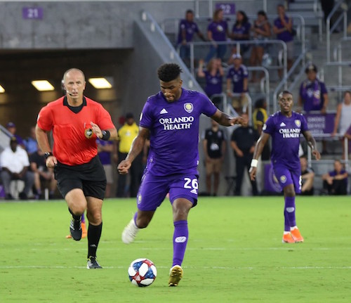 Orlando City SC's Carlos Ascues runs the ball to his first MLS career goal against FC Dallas at Exploria Stadium Saturday, August 3, 2019. Photo: Willie David/Florida National News.