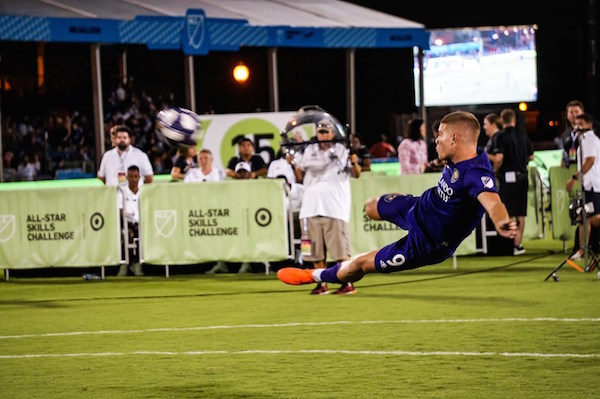 Orlando City SC's Chris Mueller fires off a winning bicycle kick shot during the MLS All-Star Challenge at ESPN Wide World of Sports Complex. Photo: Leyton Blackwell/Florida National News.