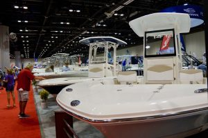 Rows of boats on display and for sale at the Orlando Boat Show. Photo: Leyton Blackwell/Florida National News.