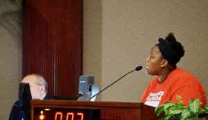 A resident from Organize Florida brings up her concerns about the new Universal Studios park. Photo: Leyton Blackwell/Florida National News.