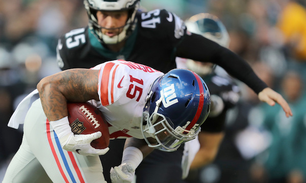 WR Quadree Henderson runs the ball for the New York Giants after a catch during the first half against the Philadelphia Eagles at Lincoln Financial Field on November 25, 2018 in Philadelphia, Pennsylvania. Photo: Getty Images.
