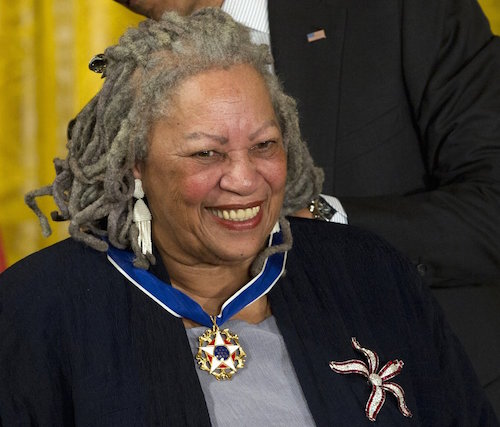 FILE - In this May 29, 2012 file photo, author Toni Morrison receives her Medal of Freedom award during a ceremony in the East Room of the White House in Washington. The Nobel Prize-winning author has died. Publisher Alfred A. Knopf says Morrison died Monday, Aug. 5, 2019 at Montefiore Medical Center in New York. She was 88. (AP Photo/Carolyn Kaster, File)
