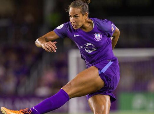 Toni Pressley launches the ball into the net for her very first goal with the Orlando Pride against FC Kansas City at Orlando City Stadium July 15, 2017. Photo: Mark Thor/Orlando City SC.