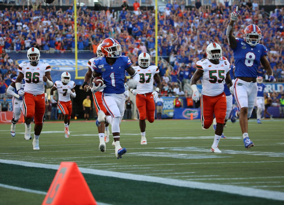 UF ATH Kadarius Toney runs the ball to the end zone for the first touchdown of the game after Miami's field goal. Photo: Willie David/Florida National News.